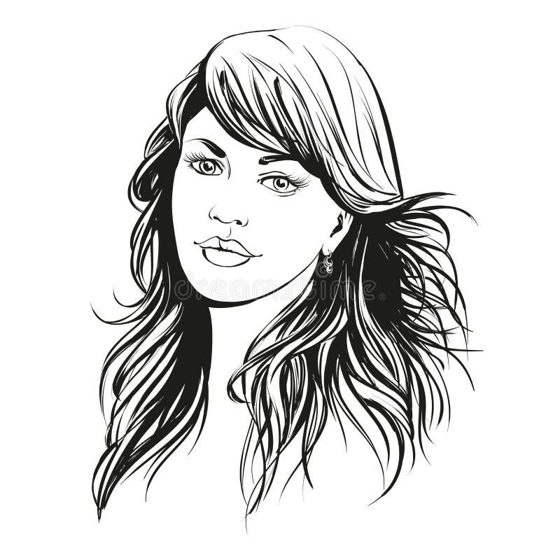 Härlig illustration för vektor för kvinnaframsida hand dragen royaltyfri illustrationer
