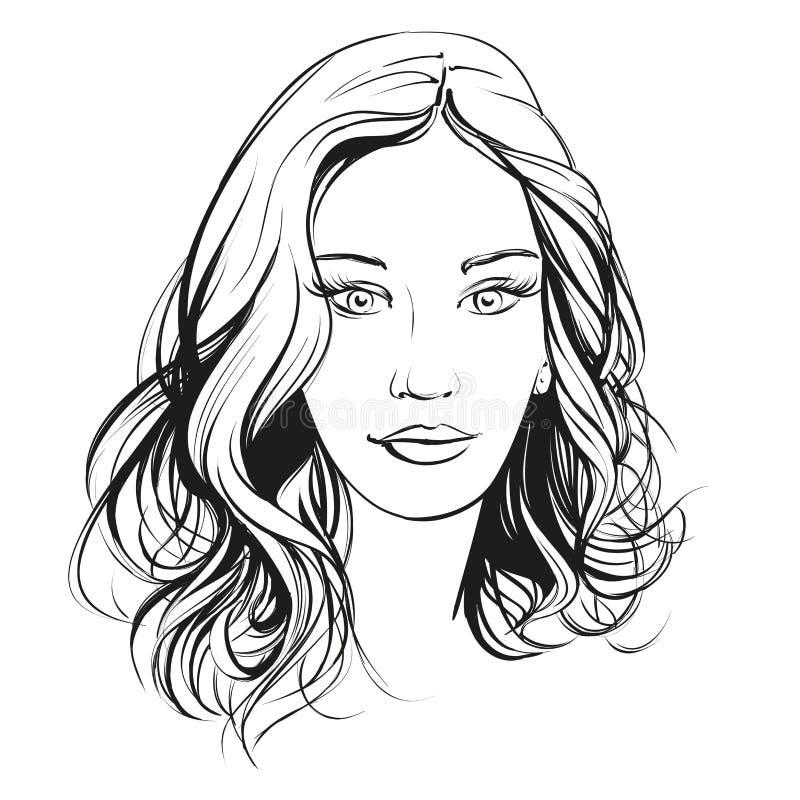 Härlig illustration för vektor för kvinnaframsida hand dragen vektor illustrationer