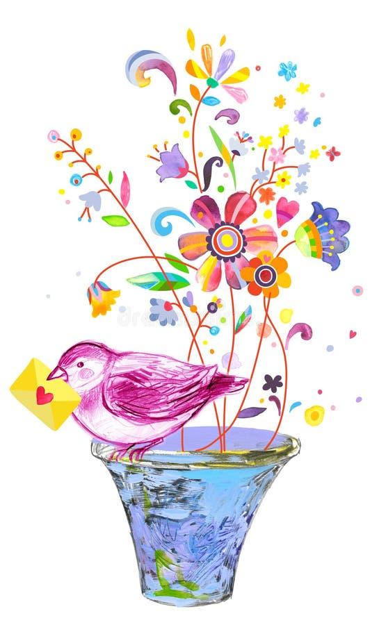 Härlig illustration med det bärande förälskelsemeddelandet för fågel royaltyfri illustrationer