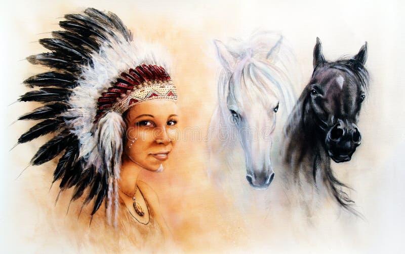 Härlig illustrationmålning av en ung indisk kvinna och hästar stock illustrationer