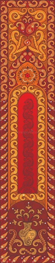 Härlig indisk blom- prydnad Etnisk Mandala Hennatatueringstil Rött stock illustrationer