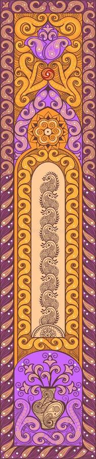 Härlig indisk blom- prydnad Etnisk Mandala Hennatatueringstil violett stock illustrationer