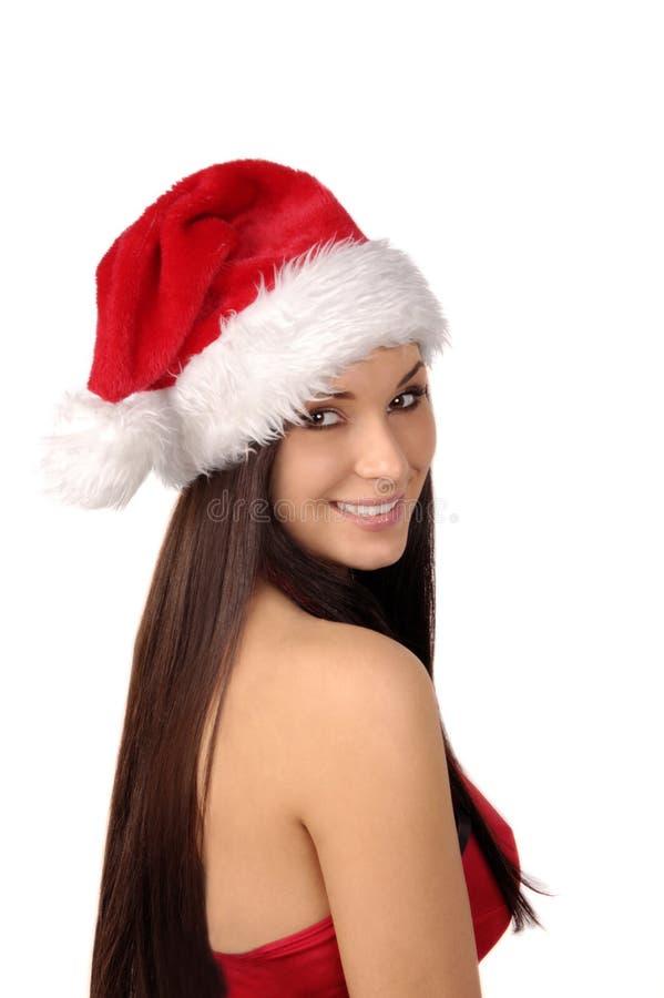 härlig isolerad sexig white för mrs santa royaltyfria bilder