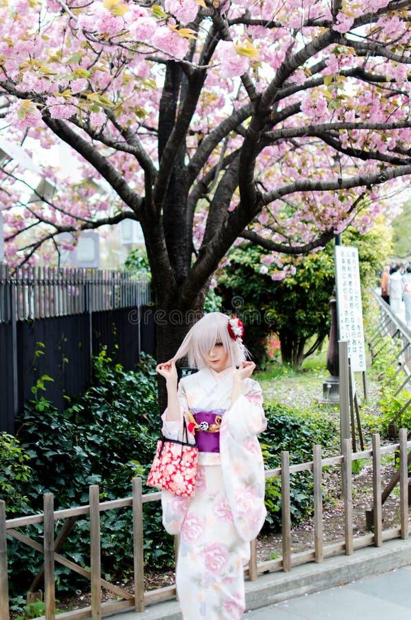 Härlig japansk flicka som bär den färgrika kimonot arkivfoton