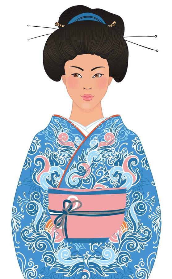 härlig japansk kimonokvinna stock illustrationer