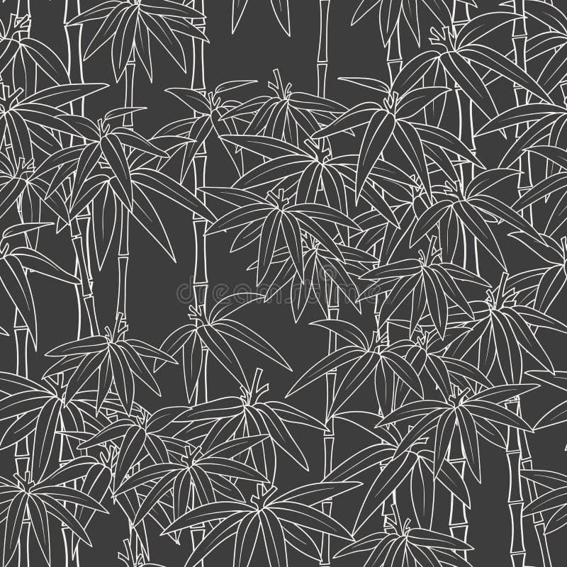 Härlig japansk sömlös modell Asiatisk bambuskog, mörk bakgrund Japansk bambu för begreppsdesign härligt stock illustrationer