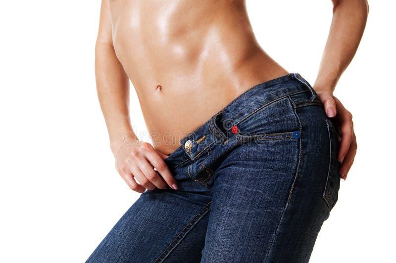 härlig jeans för huvuddelclosekvinnlig upp arkivbilder