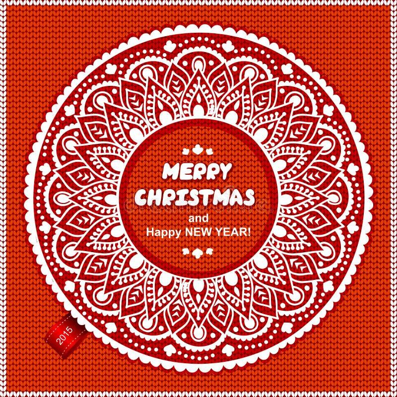 Härlig jul snör åt prydnaden med stucken royaltyfri illustrationer