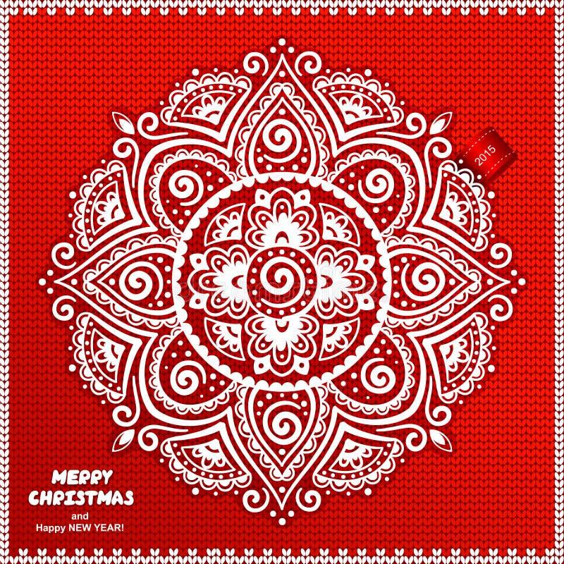 Härlig jul snör åt prydnaden med stucken vektor illustrationer
