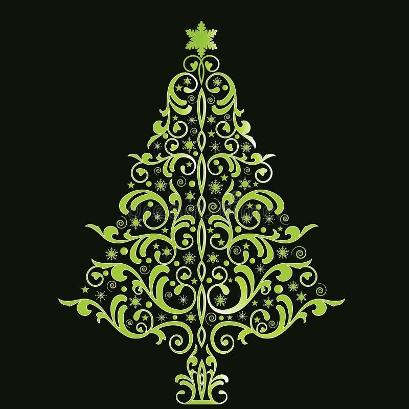 härlig jul stylized tree stock illustrationer