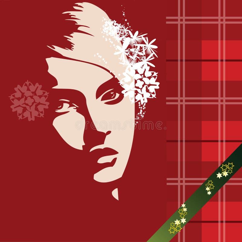 härlig julflicka royaltyfri illustrationer