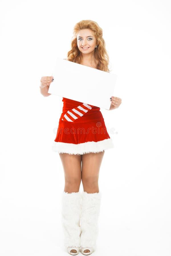 Härlig julflicka som isoleras på den vita affischen för bakgrundsinnehavmellanrum arkivbilder