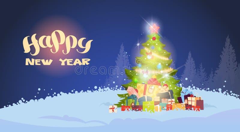 Härlig julgran för vinterlandskap som skiner på natten över snöig Forest Holiday Greeting Card royaltyfri illustrationer