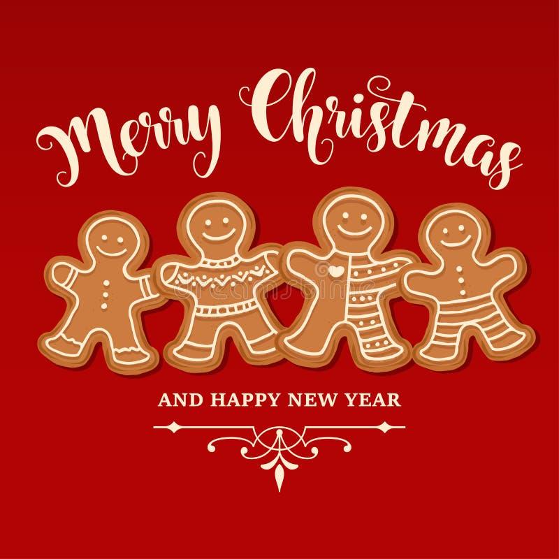 Härlig julkort med pepparkakafamiljen stock illustrationer