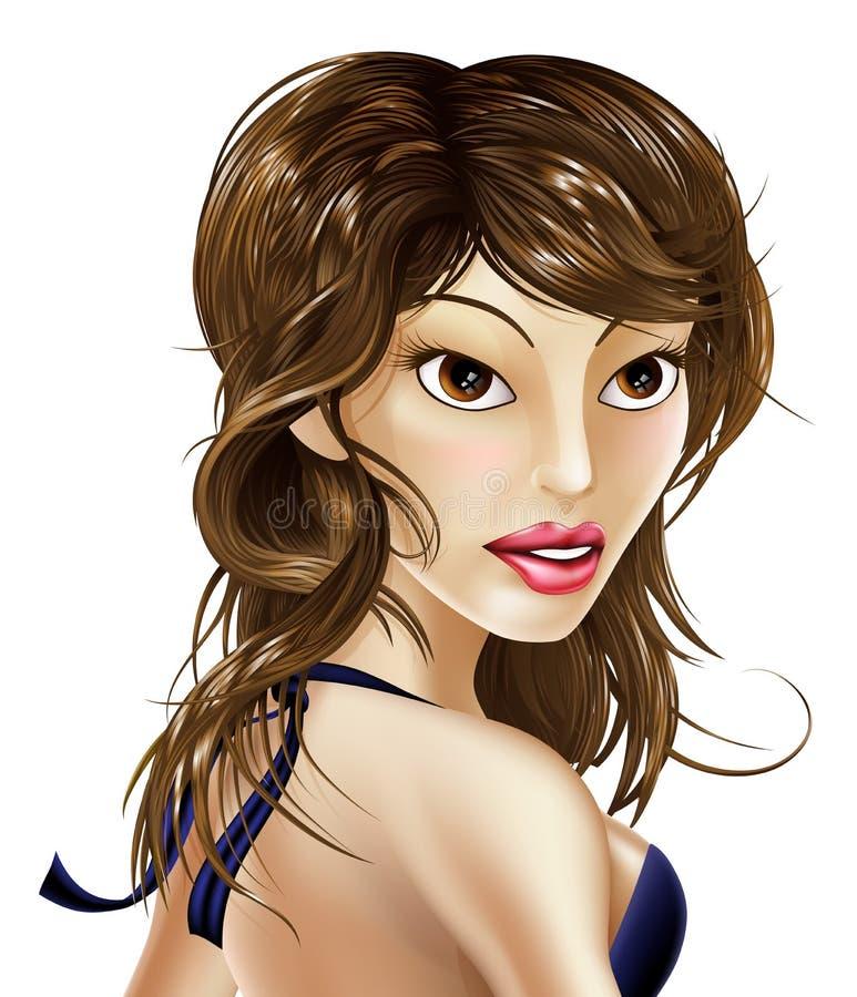 Härlig kändiskvinna stock illustrationer