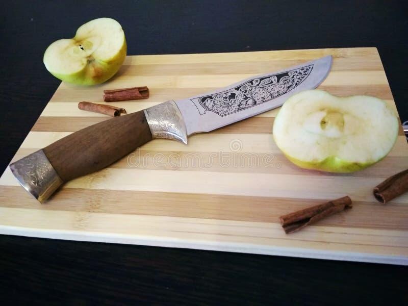 Härlig kökkniv med teckningen av en jaguar royaltyfria bilder