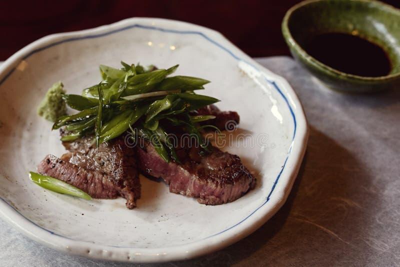 Härlig Kaiseki nötköttkurs i Japan arkivfoton