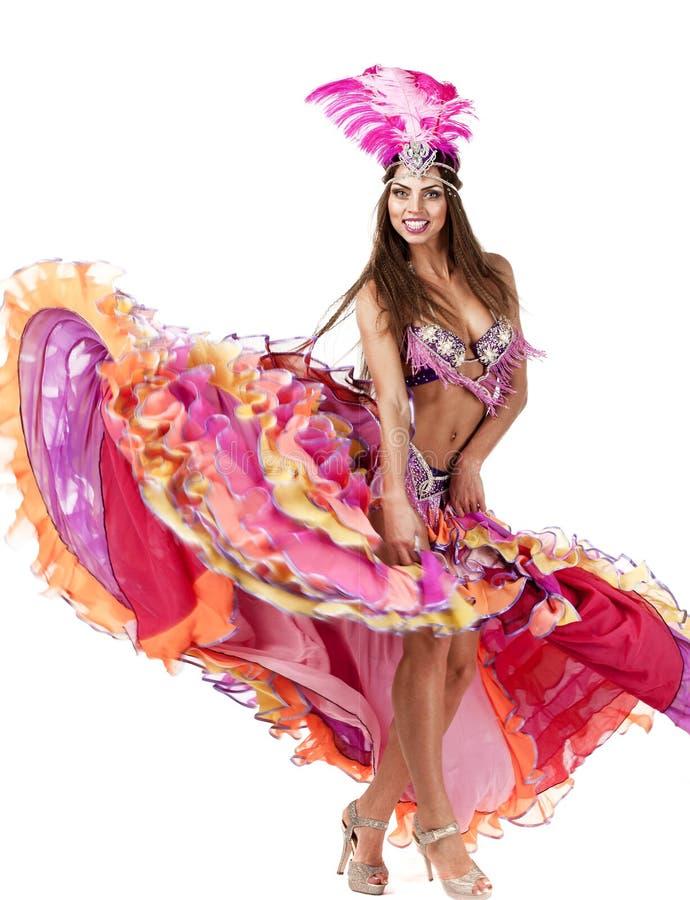Härlig karnevaldansare, fantastisk dräkt royaltyfri bild