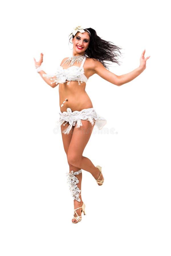 Härlig karnevaldansarebanhoppning royaltyfri bild