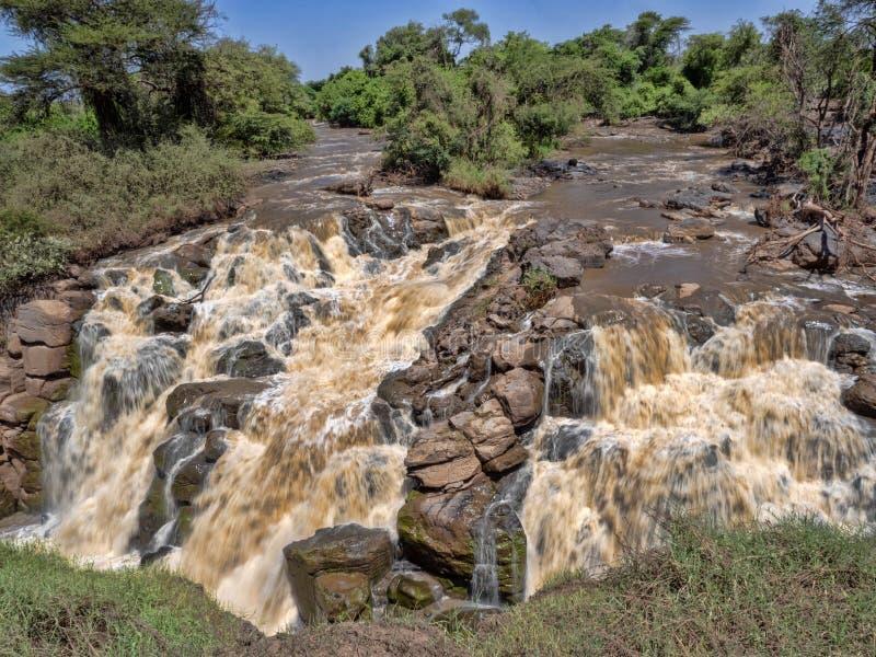 Härlig kaskad av Awash vattenfall, Etiopien arkivbilder