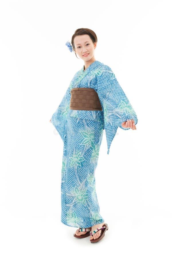 Härlig kimonokvinna royaltyfri bild