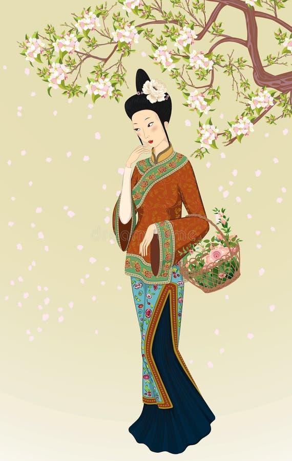 härlig kinesisk kvinna stock illustrationer