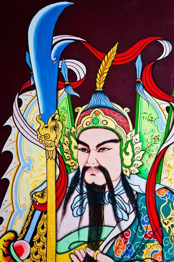 härlig kinesisk målningsväggkrigare royaltyfria bilder