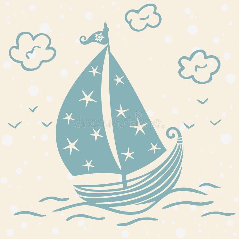 Härlig kontur för skepp royaltyfri illustrationer