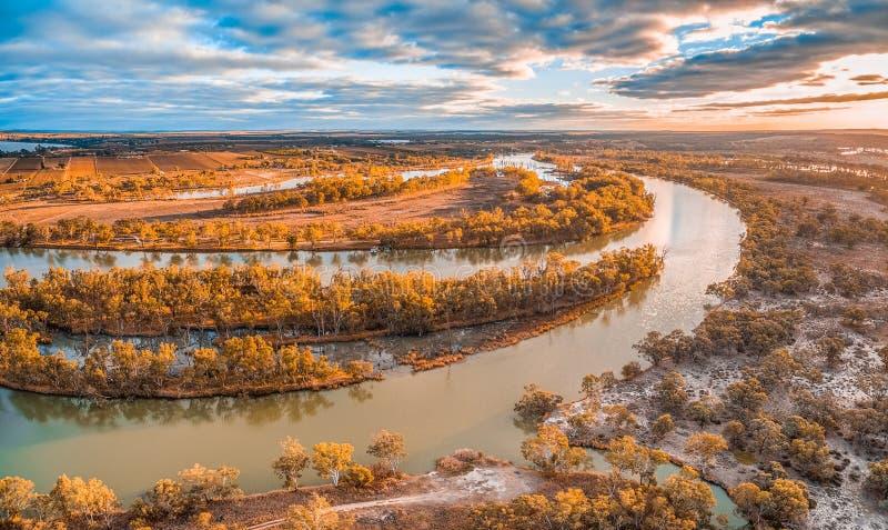 Härlig krökning av Murray River på solnedgången royaltyfri foto