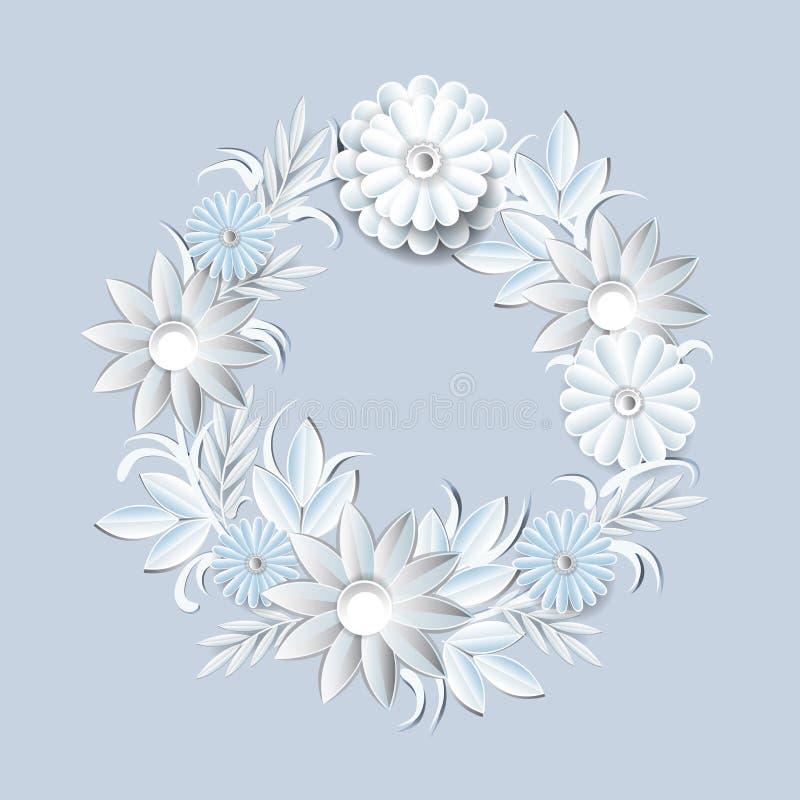 Härlig krans för vita blommor som isoleras på Grey Background Floral Round Frame garneringbeståndsdel stock illustrationer