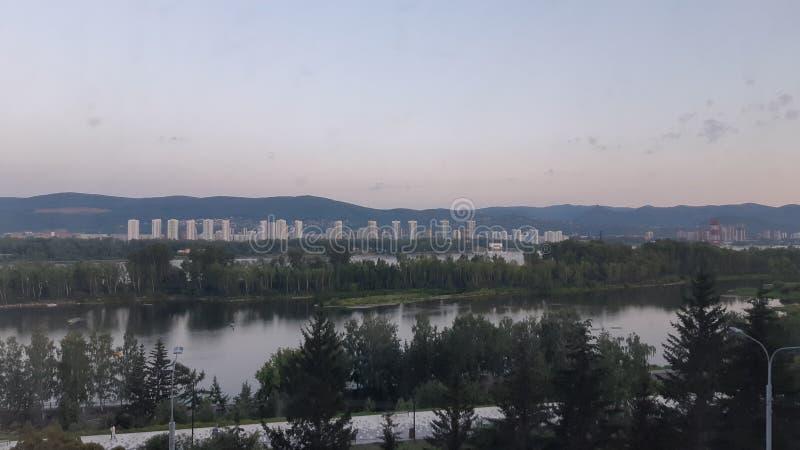 Härlig Krasnoyarsk afton arkivfoton