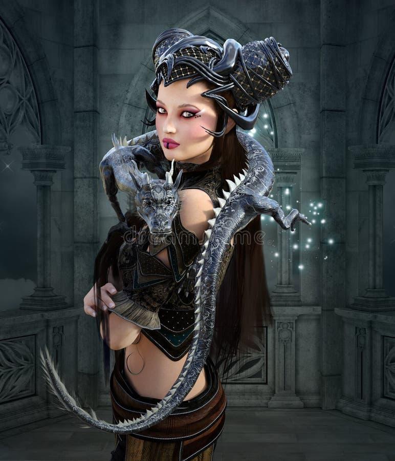 Härlig krigare med draken stock illustrationer