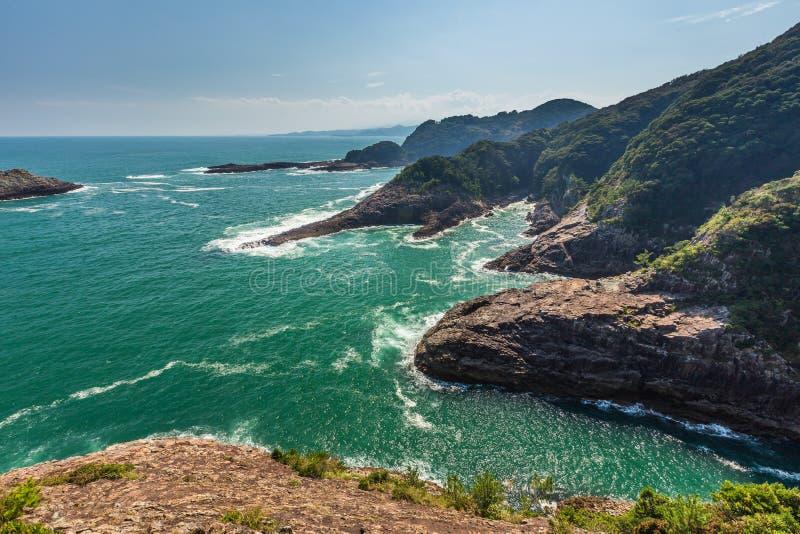 Härlig kustlinje av Hyuga udde i Miyazaki, Kyushu arkivfoto