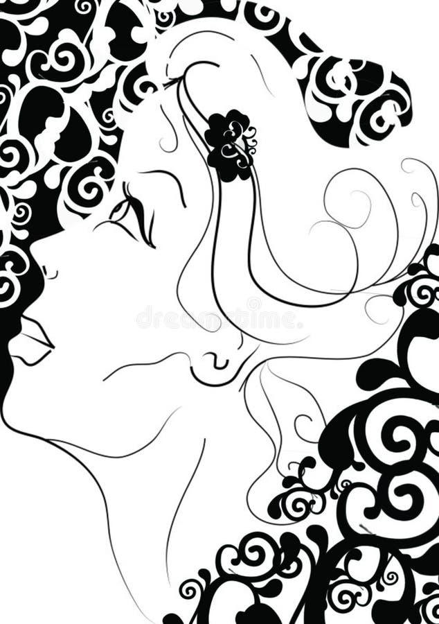härlig kvinna stock illustrationer