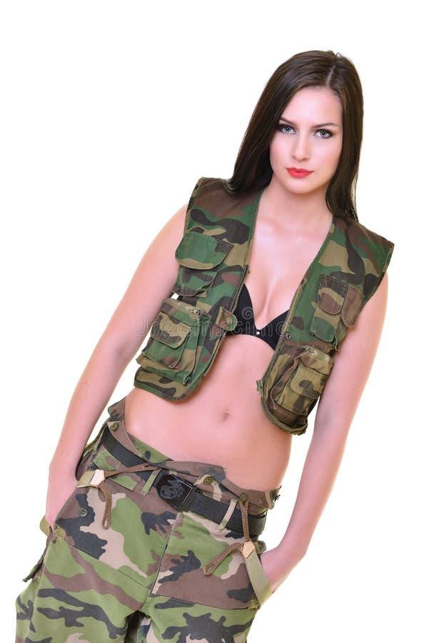 härlig kvinna för armé arkivfoto