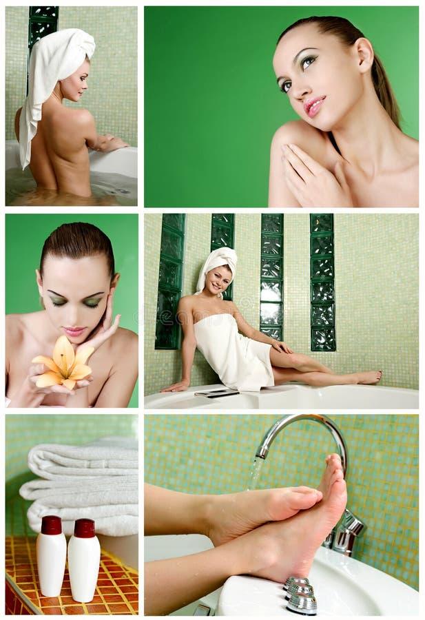 härlig kvinna för badrum fotografering för bildbyråer