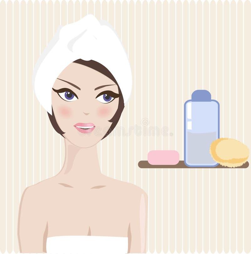 härlig kvinna för badrum vektor illustrationer