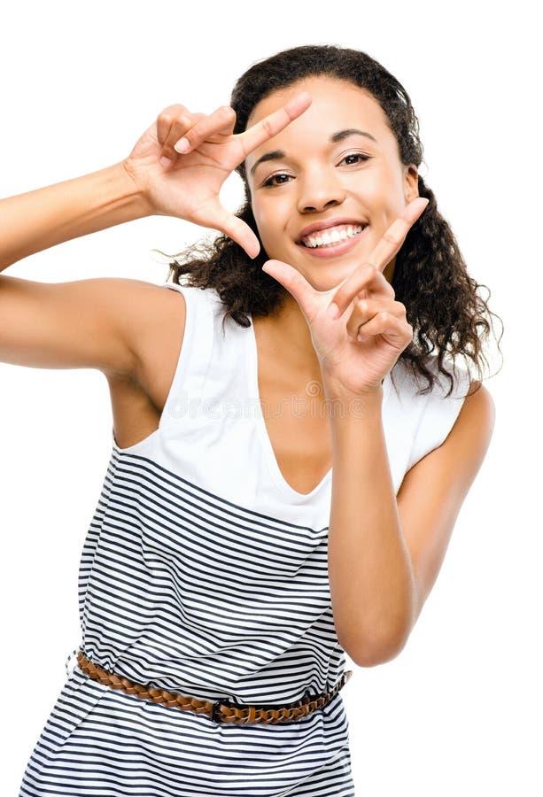 Härlig kvinna för blandat lopp som inramar fotografifingrar royaltyfri bild