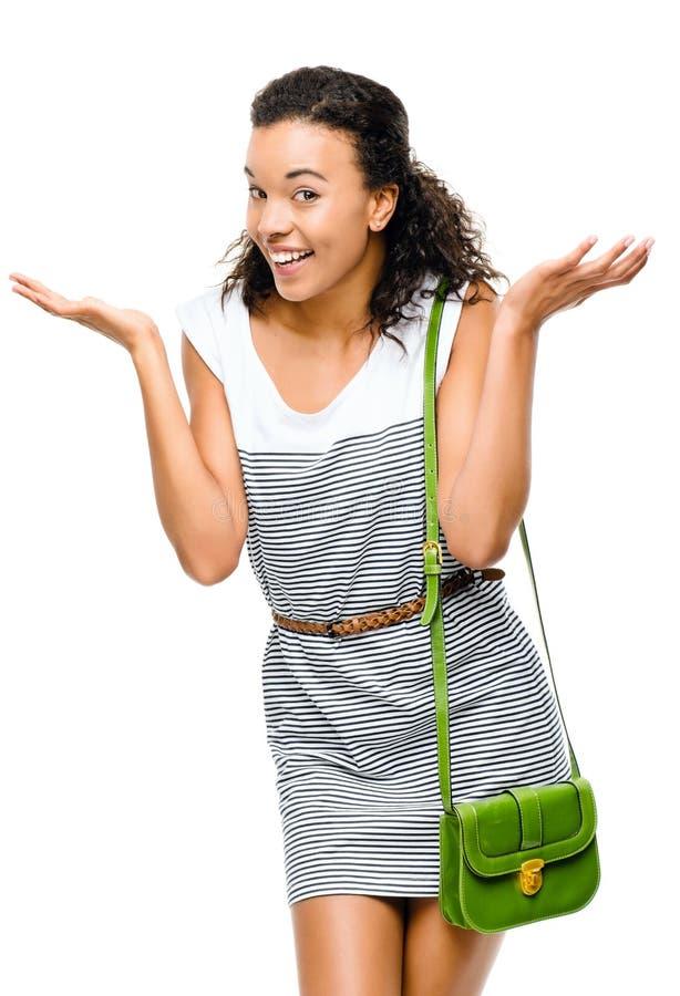 Härlig kvinna för blandat lopp som ler ståenden som isoleras på vita lodisar arkivfoton