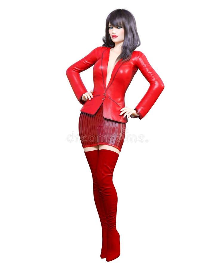 härlig kvinna för brunett 3D i röd blazer och långa kängor Vår-höst samlingskläder ljus makeup Kvinnastudiofotografi stock illustrationer