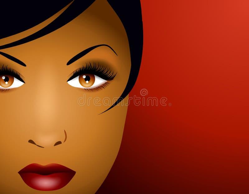 härlig kvinna för framsida 2 royaltyfri illustrationer