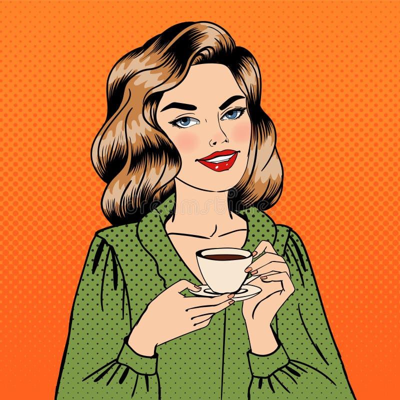 härlig kvinna för kaffekopp Popkonst stock illustrationer