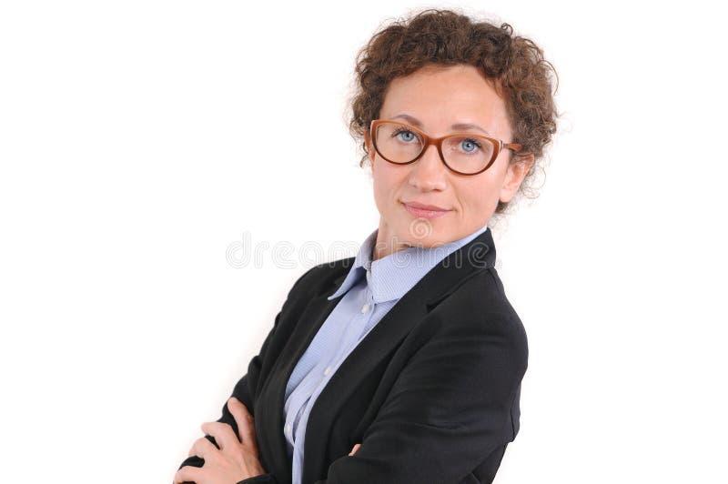 Härlig kvinna för mogen affär i exponeringsglas arkivbilder