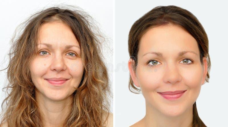 Härlig kvinna före och efter som applicerar smink och hairstyling arkivbild
