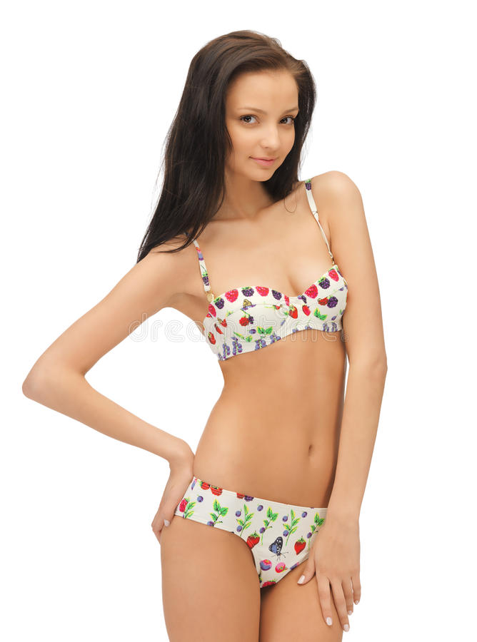 Härlig kvinna i bikini royaltyfri foto