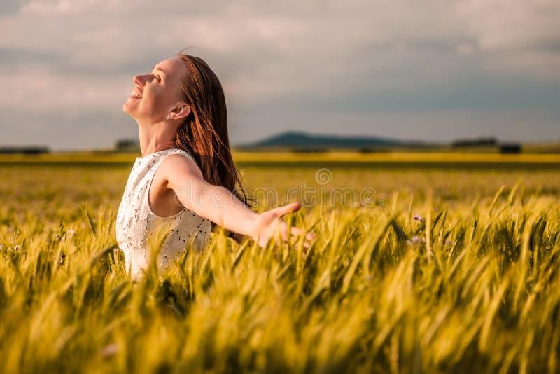 Härlig kvinna i den vita klänningen på guld- gult vetefält royaltyfria bilder