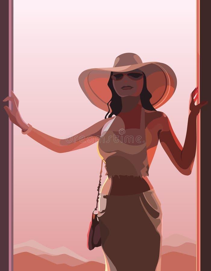 Härlig kvinna i en hatt i rosa ljus royaltyfri bild