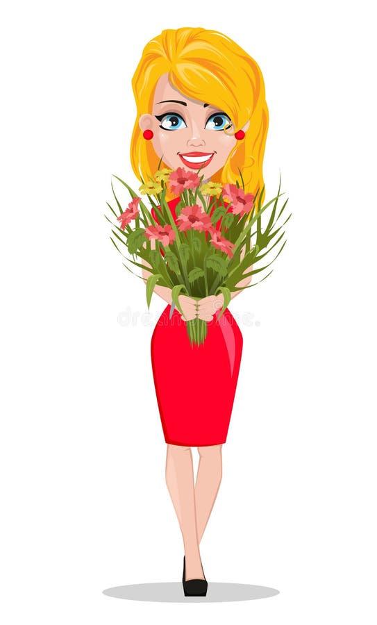 Härlig kvinna i hållande bukett för röd klänning av blommor royaltyfri illustrationer