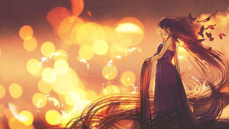 Härlig kvinna i mörk klänning med långt hår stock illustrationer