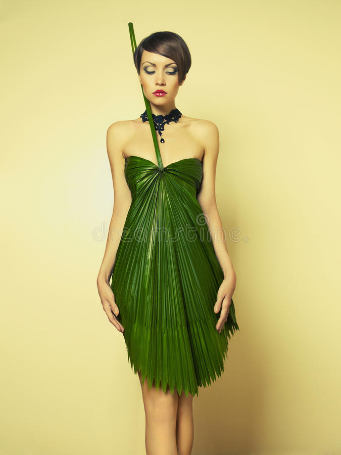 Härlig kvinna i ovanlig klänning arkivfoto